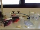 Slika 1: Reagent Colilert in Enterolert, stekleničke, Quanti-Tray in vzorca vode